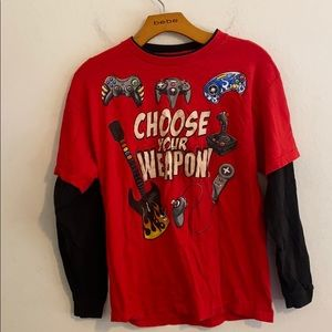 """HYBRID Boys """"CHOOSE YOUR WEAPON"""" Large Red Shirt"""